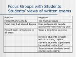 focus groups with students students views of written exams