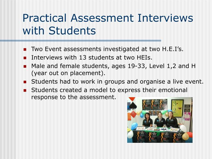 Practical Assessment Interviews with Students