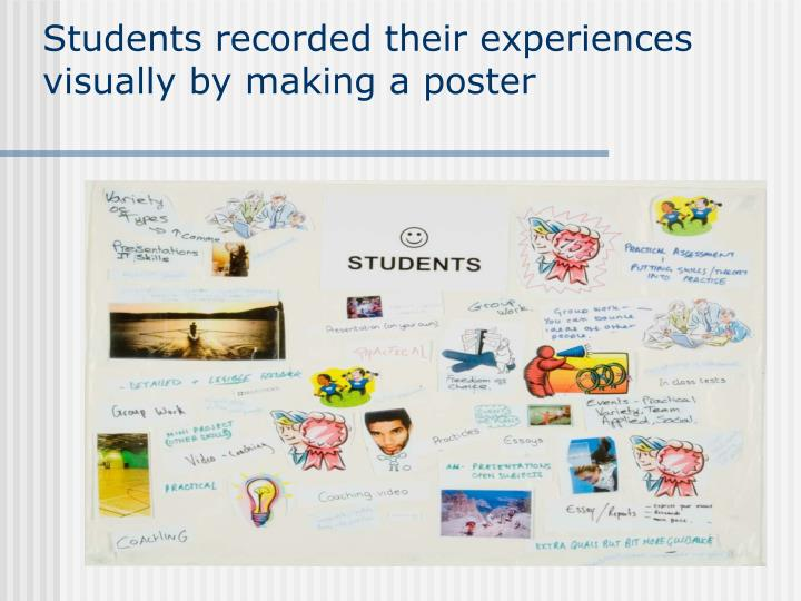 Students recorded their experiences visually by making a poster
