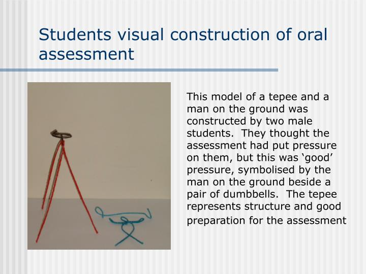 Students visual construction of oral assessment