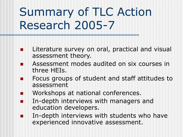 Summary of TLC Action  Research 2005-7