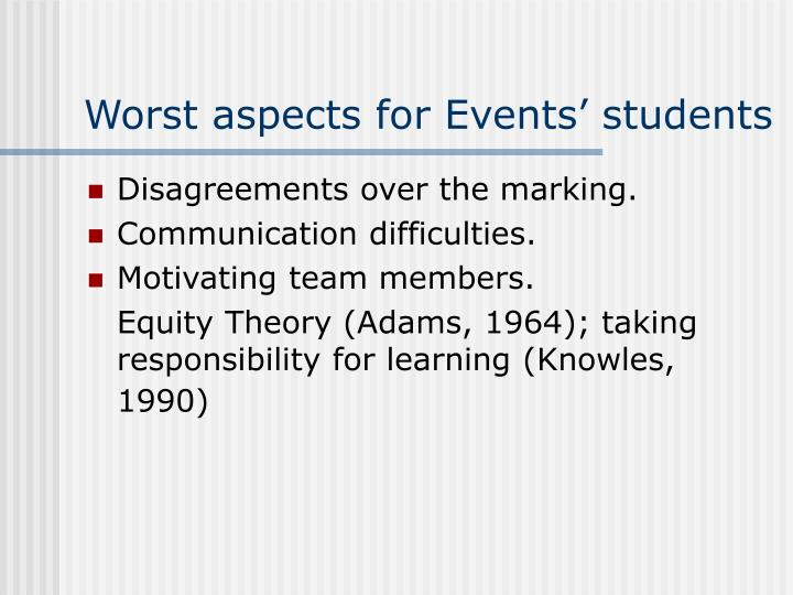 Worst aspects for Events' students
