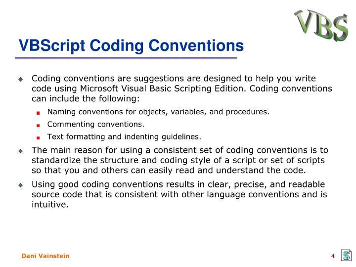 VBScript Coding Conventions