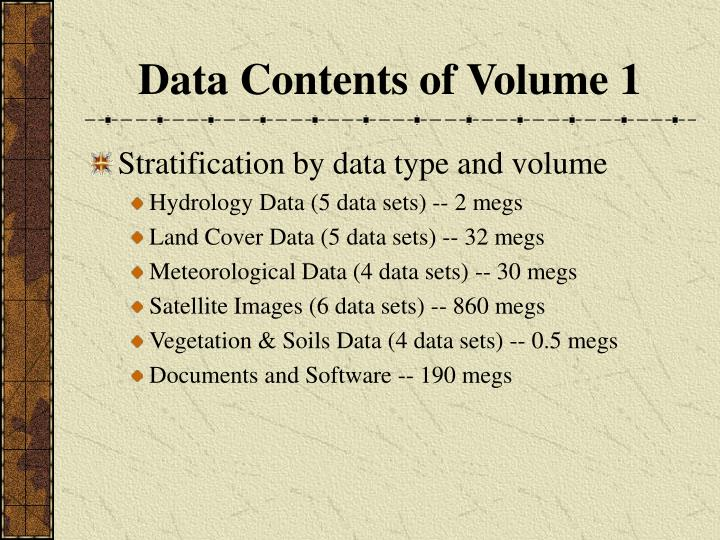 Data Contents of Volume 1