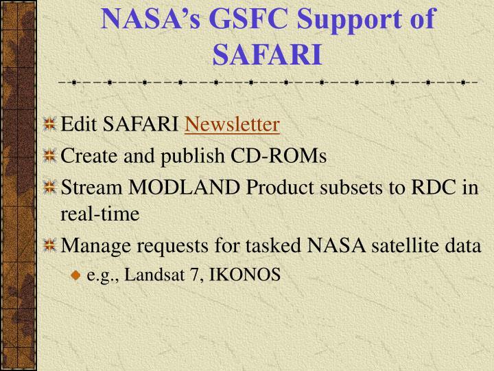 NASA's GSFC Support of SAFARI