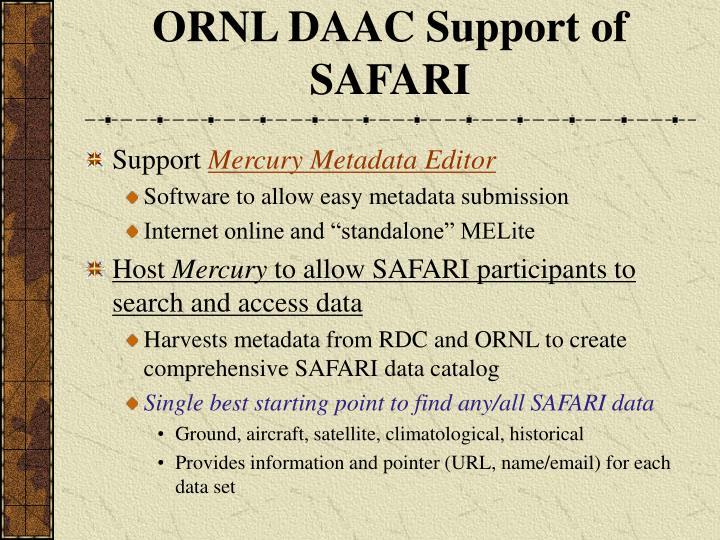 ORNL DAAC Support of SAFARI