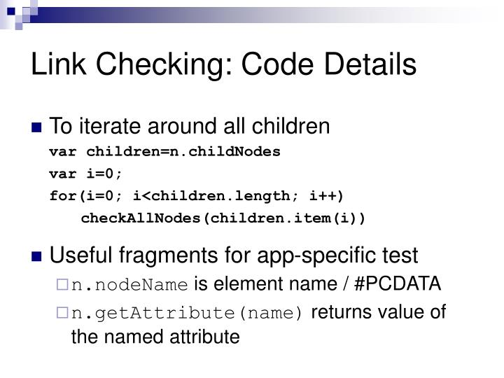 Link Checking: Code Details