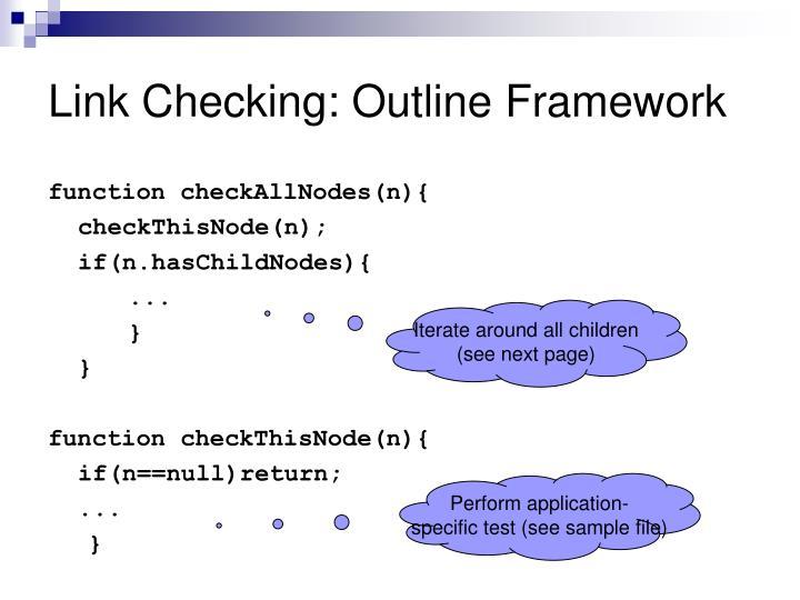Link Checking: Outline Framework
