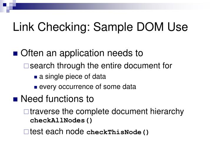 Link Checking: Sample DOM Use
