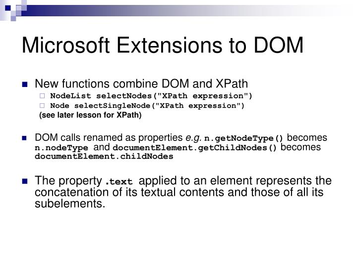Microsoft Extensions to DOM