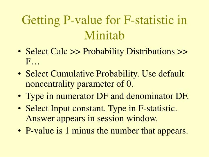 Getting P-value for F-statistic in Minitab