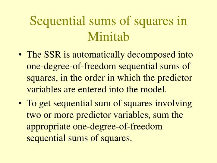 Sequential sums of squares in Minitab