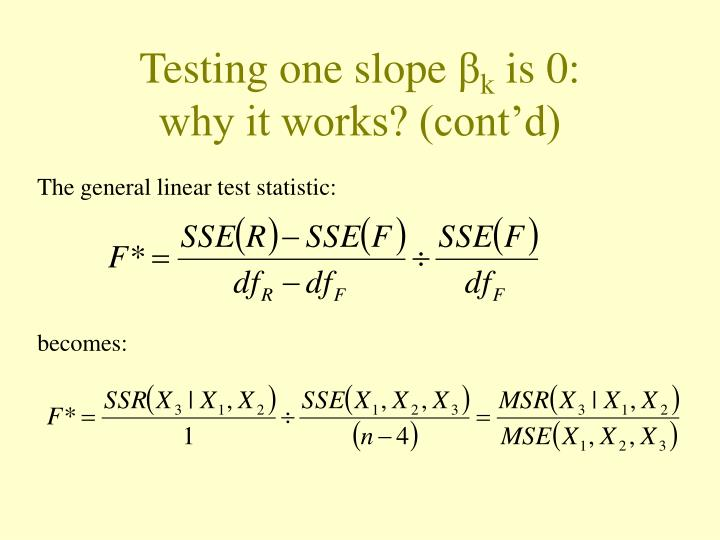 The general linear test statistic: