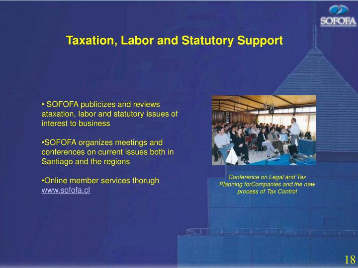 Taxation, Labor and Statutory Support