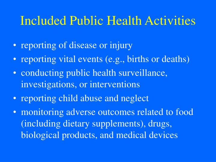 Included Public Health Activities