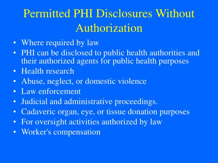 Permitted PHI Disclosures Without Authorization