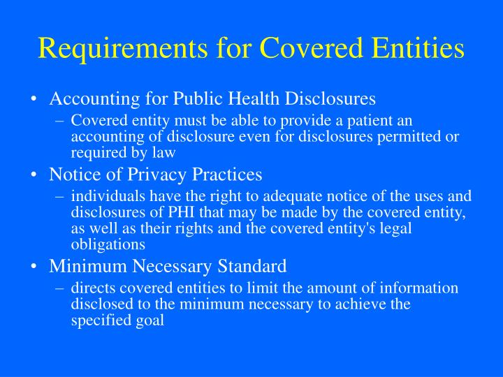 Requirements for Covered Entities