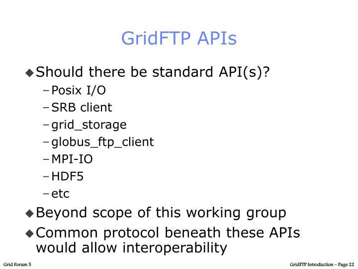 GridFTP APIs