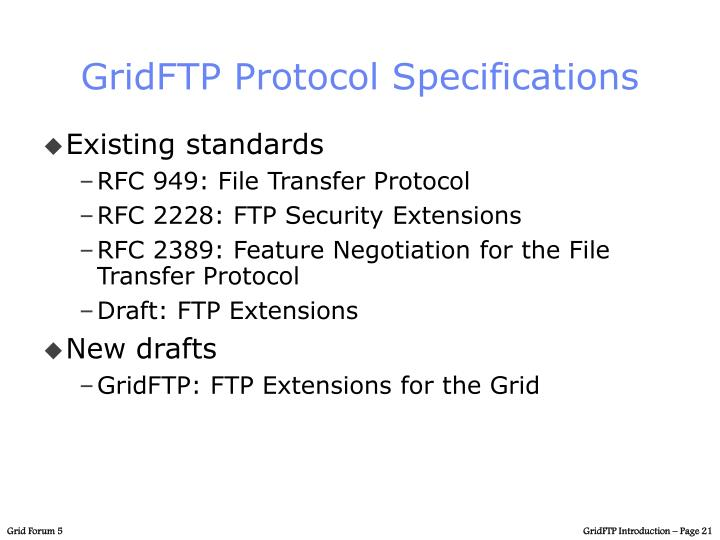 GridFTP Protocol Specifications
