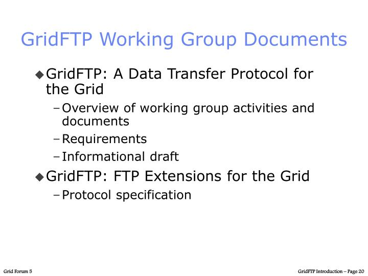 GridFTP Working Group Documents
