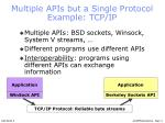 multiple apis but a single protocol example tcp ip