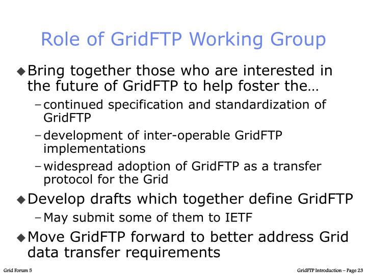 Role of GridFTP Working Group