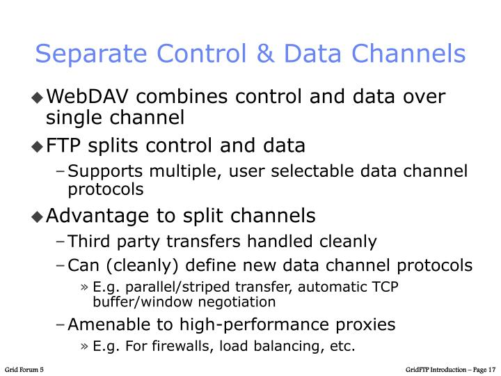 Separate Control & Data Channels