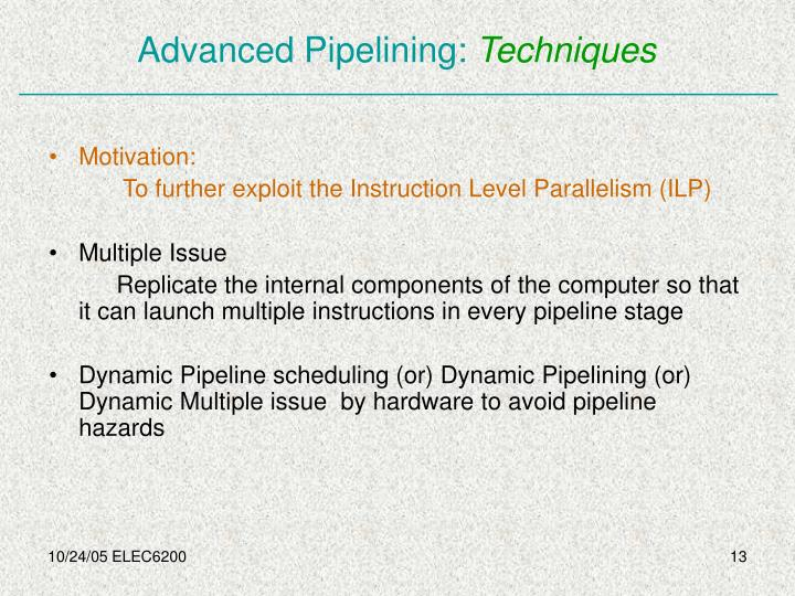 Advanced Pipelining: