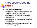 procedural coding part ii1