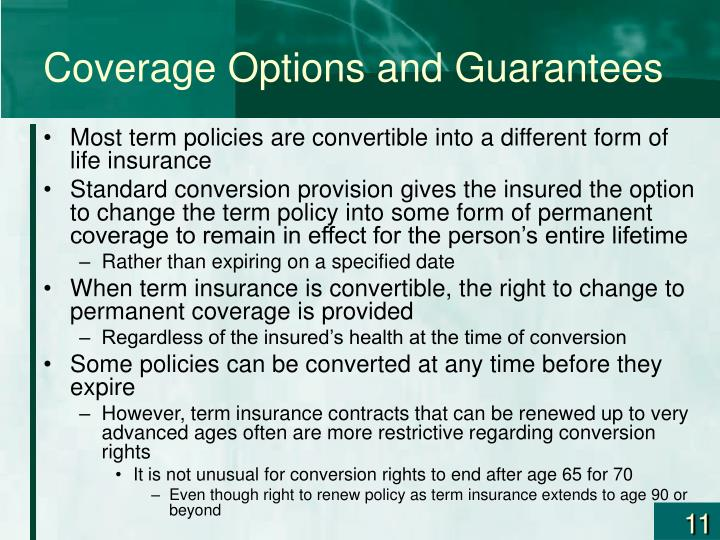 Coverage Options and Guarantees