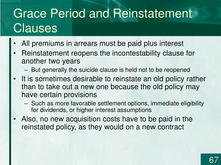 Grace Period and Reinstatement Clauses
