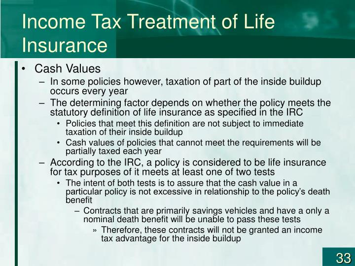 Income Tax Treatment of Life Insurance