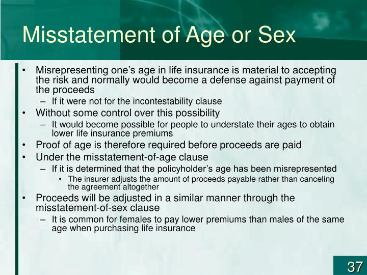 Misstatement of Age or Sex