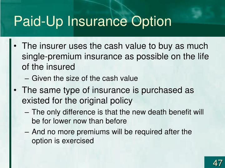Paid-Up Insurance Option