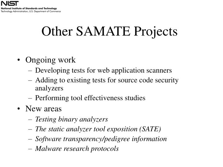 Other SAMATE Projects