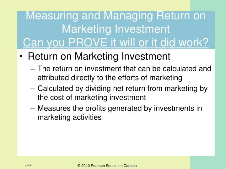 Measuring and Managing Return on Marketing
