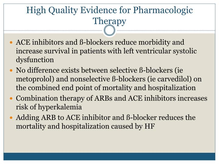High Quality Evidence for Pharmacologic Therapy