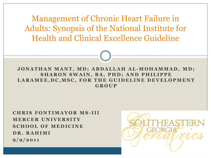 Management of Chronic Heart Failure in Adults: Synopsis of the National Institute for Health and Cli...