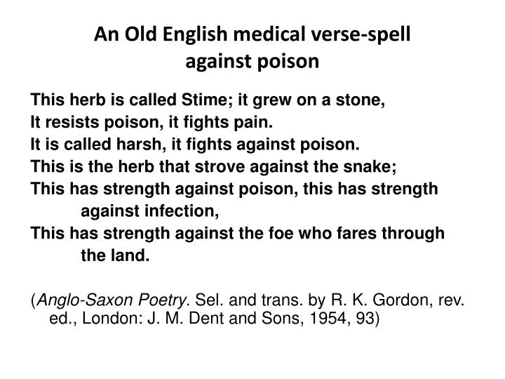 An Old English medical verse-spell