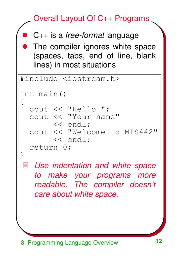 Overall Layout Of C++ Programs