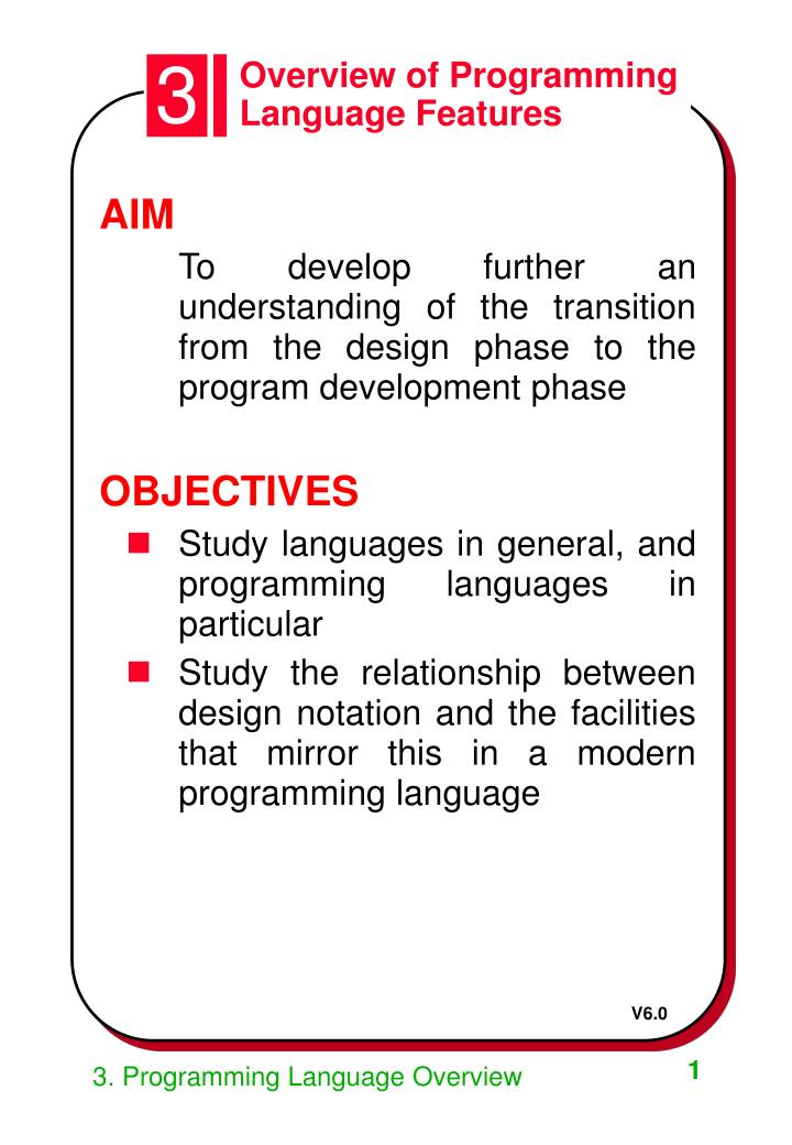 overview of programming language features