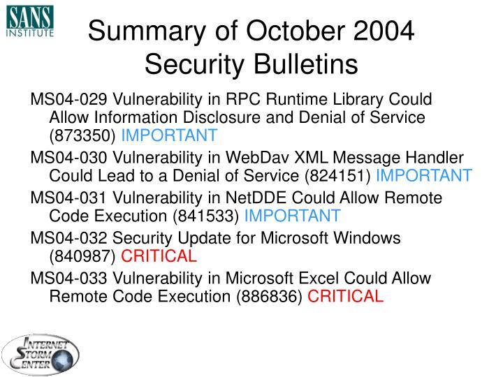 Summary of October 2004