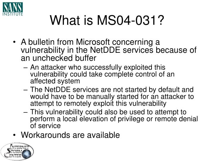 What is MS04-031?