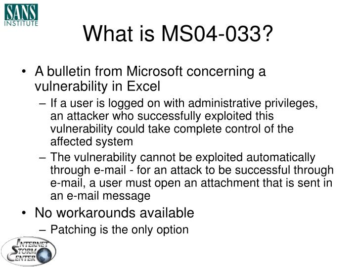 What is MS04-033?