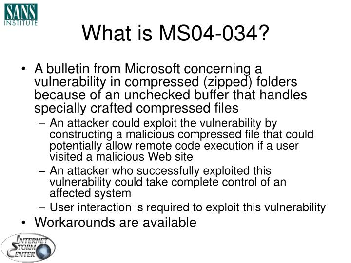 What is MS04-034?