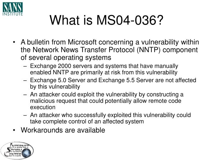 What is MS04-036?