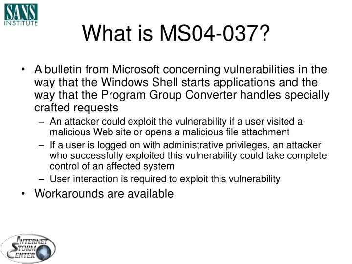 What is MS04-037?