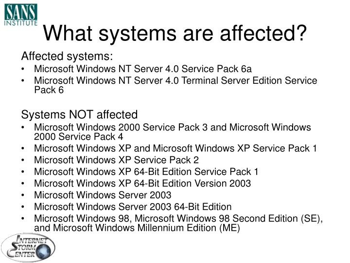What systems are affected?