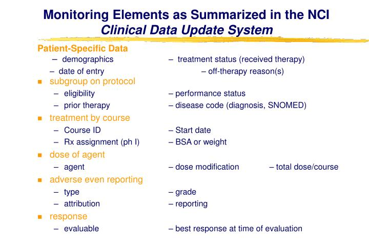 Monitoring Elements as Summarized in the NCI