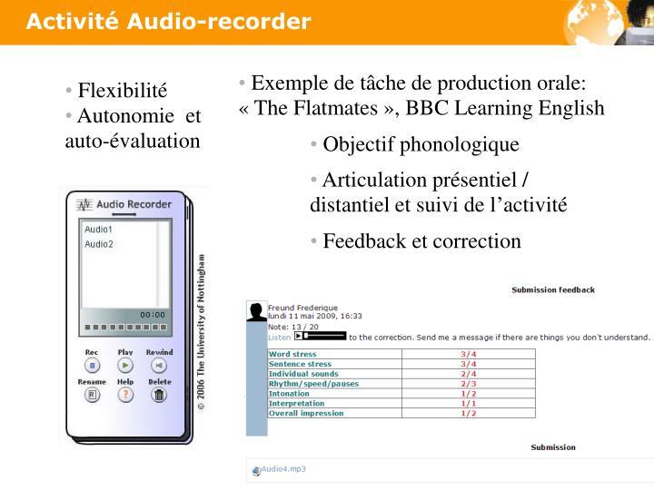 Activité Audio-recorder